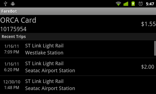 FareBot: Read data from public transit cards with your NFC